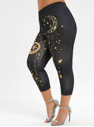 Plus Size High Rise Sun Moon Print Capri Leggings -