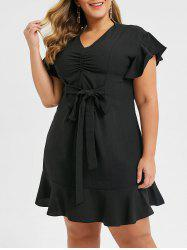 Plus Size Ruched V Neck Flounce Dress -