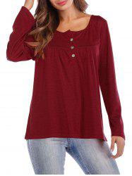 Button Front Casual Long Sleeve T-shirt -