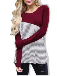 Casual Striped Panel Long Sleeve T-shirt -