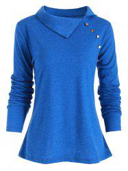 Heather Button Embellished Long Sleeve T-shirt -