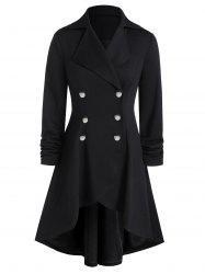 Plus Size High Low Grommet Buckle A Line Coat -