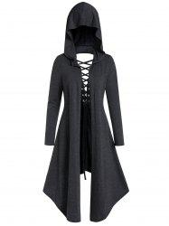 Asymmetric Lace-up Cut Out Open Front Hooded Gothic Coat -