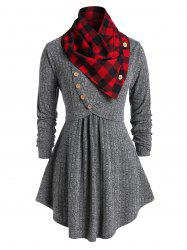 Plus Size Cowl Neck Plaid Marled Knitwear -
