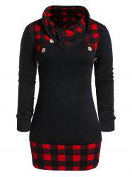 Plus Size Checked Panel Cowl Collar Button T Shirt -