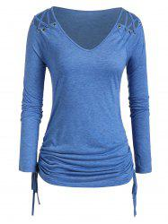 Plus Size Long Sleeve Lattice Cinched Ruched T-shirt -