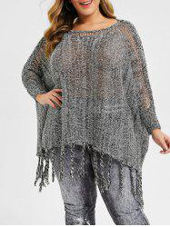 Plus Size Sequined Fringed Batwing Sleeve Sweater -