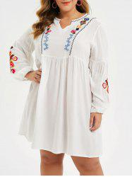 Plus Size Flower Embroidered Notched Casual Dress -