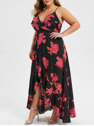 Plus Size Spaghetti Strap High Waist Slit Dress -