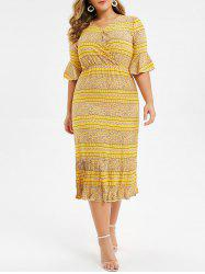 Plus Size Bell Sleeve Flounce Ditsy Print Midi Dress -
