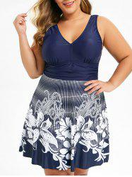 Plus Size Plunge Floral Skirted One-piece Swimwear -
