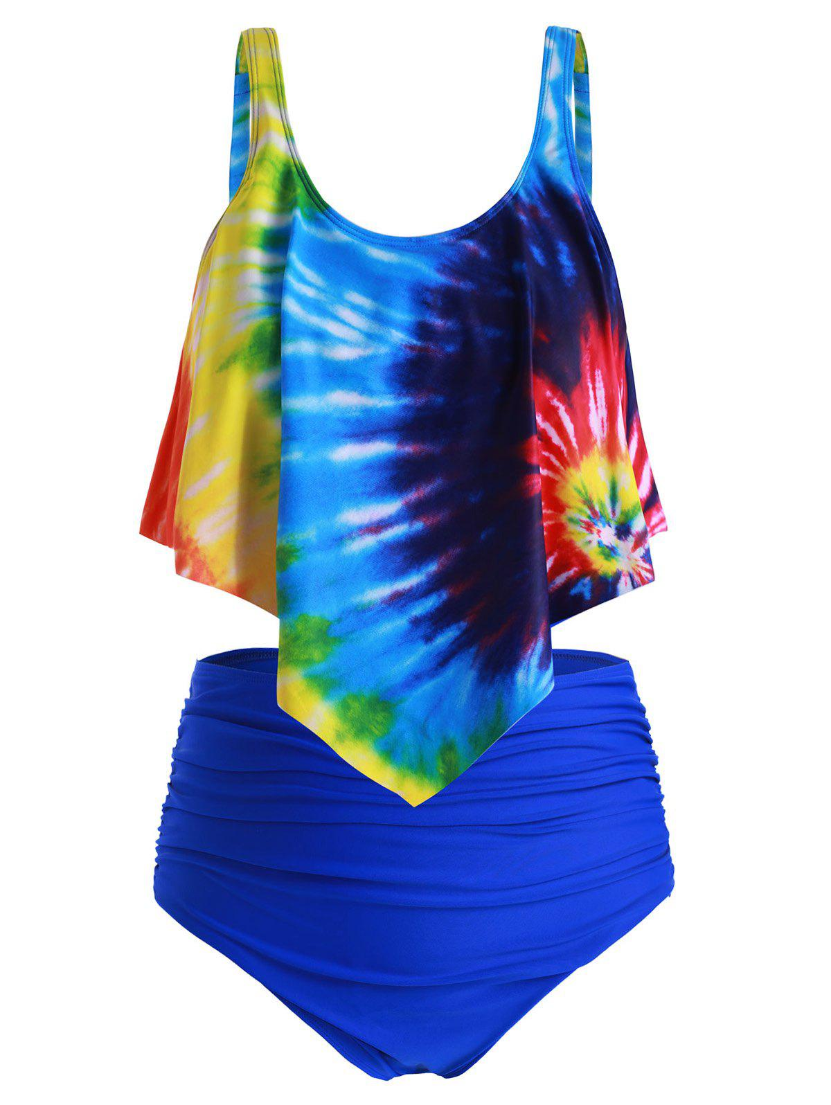 Unique Plus Size Overlay Tie Dye High Waist Tankini Swimsuit