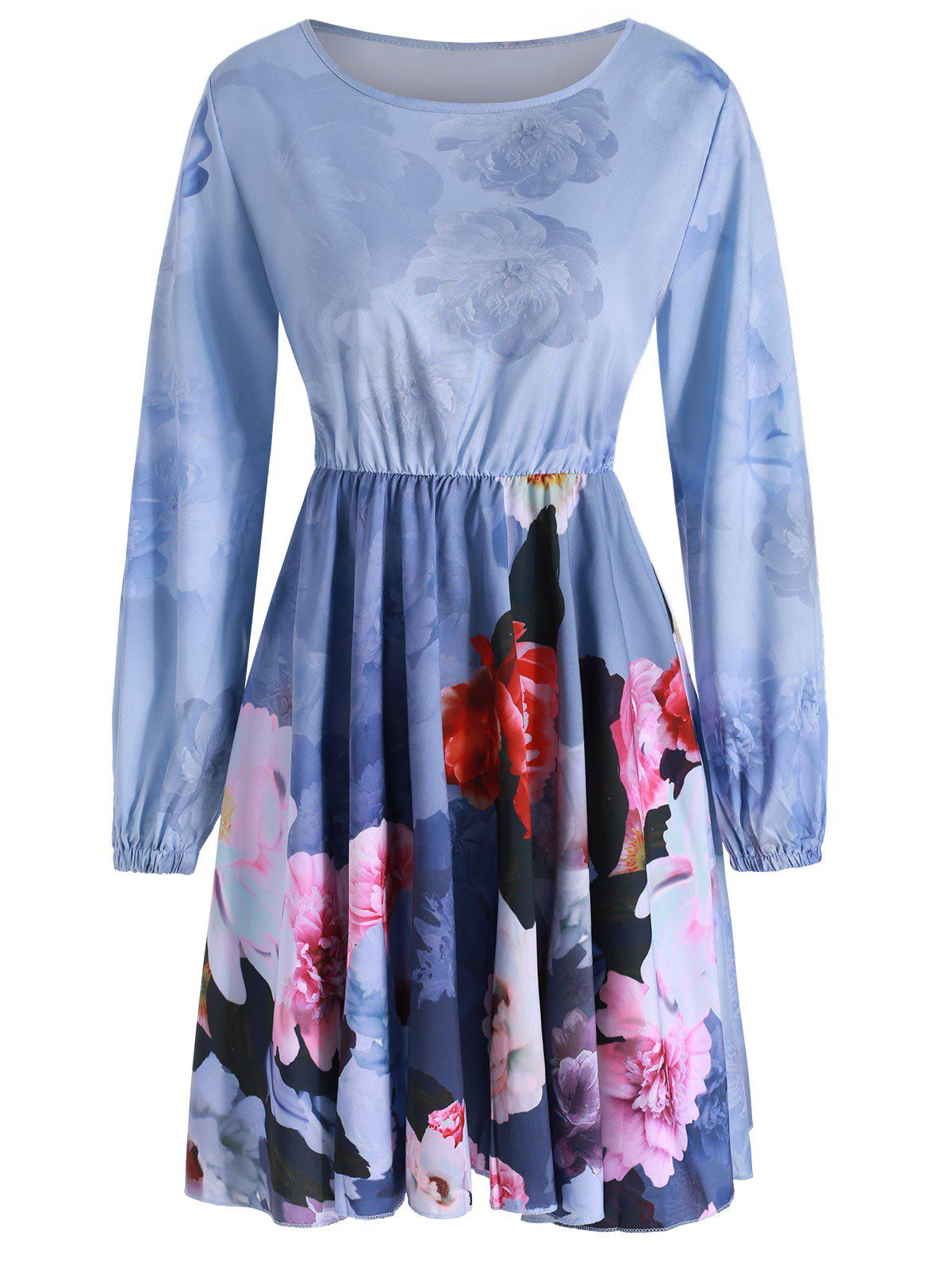 Outfit Floral Print Long Sleeves Mini Dress