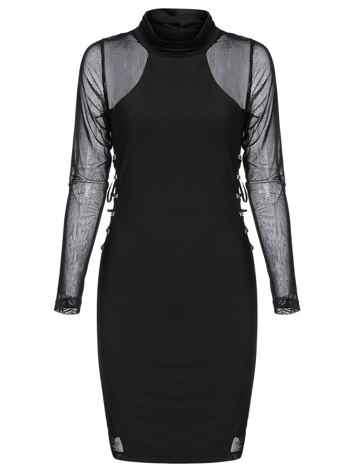 Best Rivet Embellished Lace-up Mesh Insert Mini Gothic Bodycon Dress