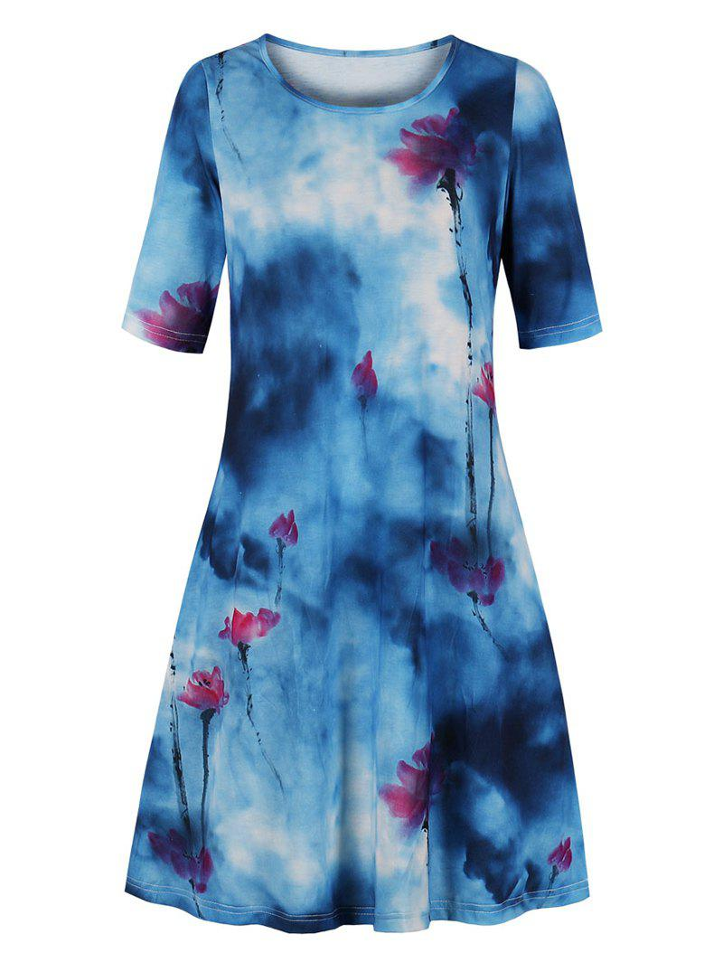 Affordable Plus Size American Flag Sunflower Tie Dye Tee Dress