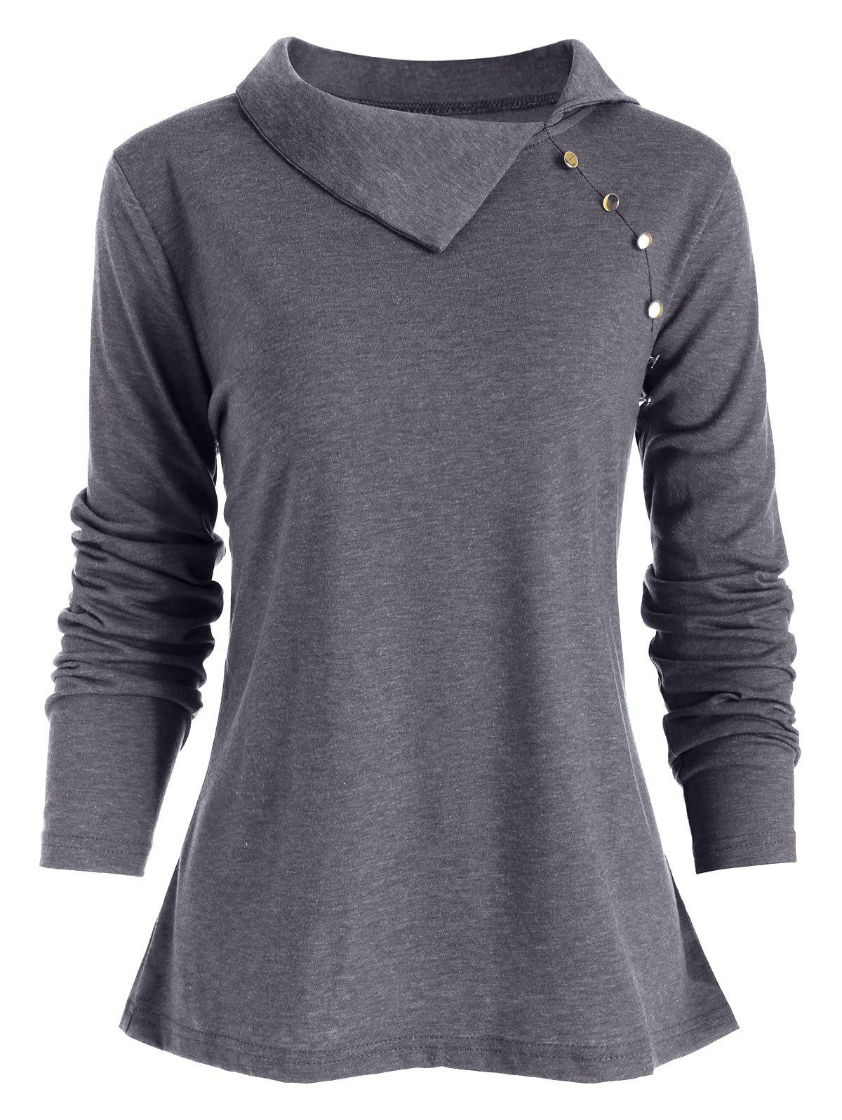 New Heather Button Embellished Long Sleeve T-shirt