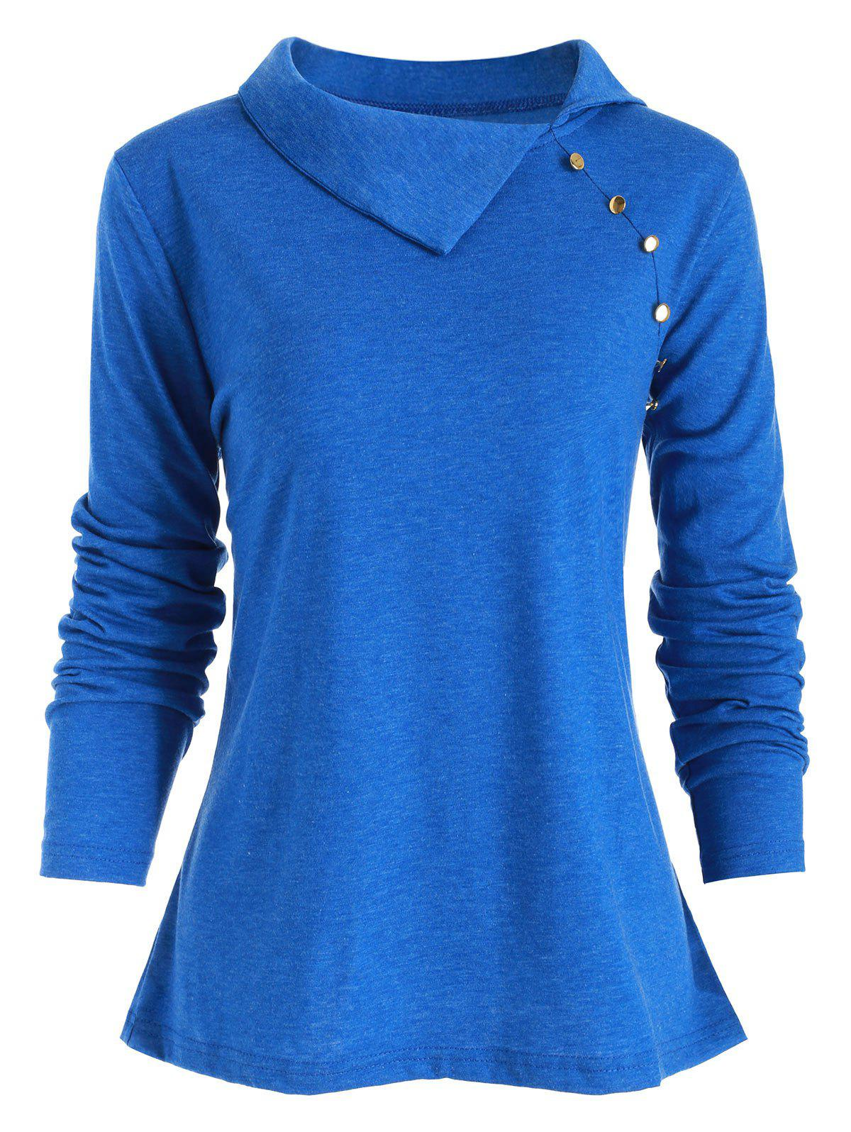Outfits Heather Button Embellished Long Sleeve T-shirt