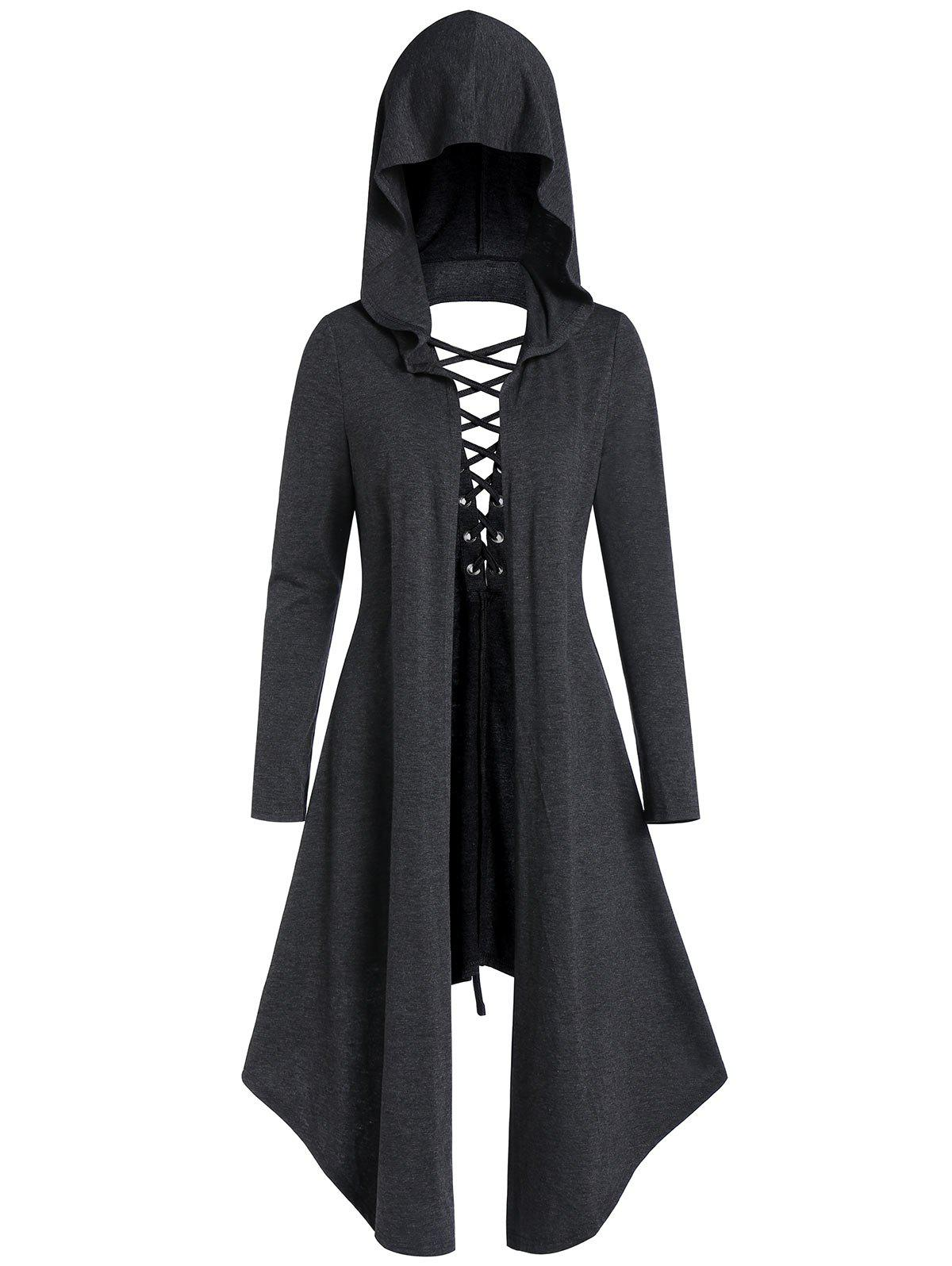 Latest Asymmetric Lace-up Cut Out Open Front Hooded Gothic Coat
