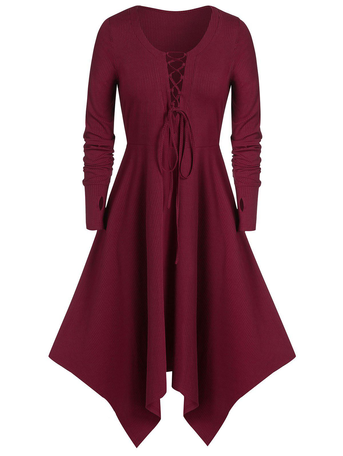 Shop Plus Size Asymmetric Long Sleeve Lace UP Dress