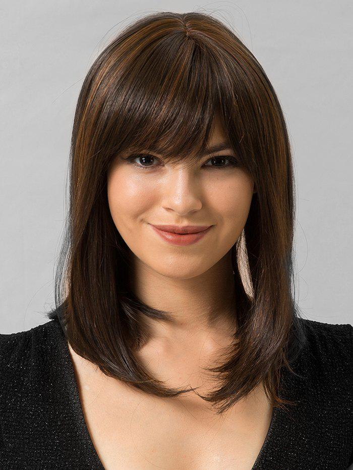 Sale Full Bang Straight Medium Human Hair Wig
