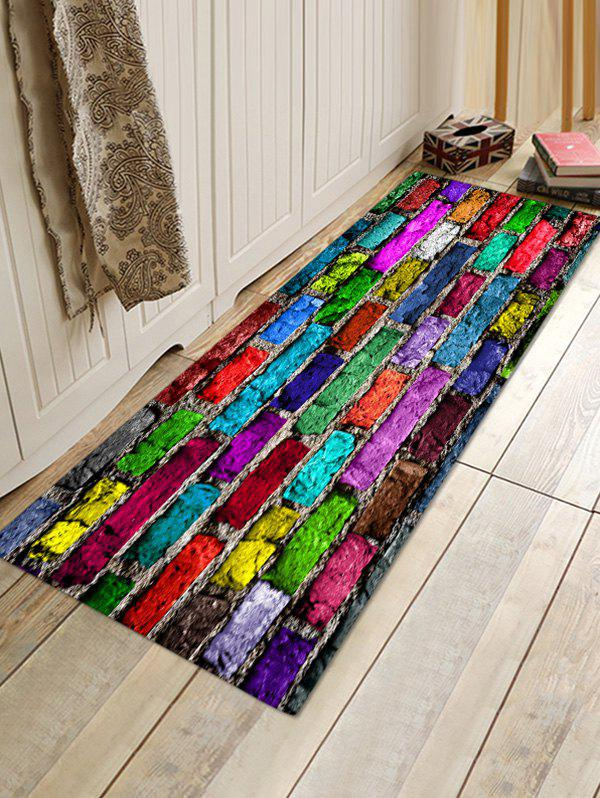 Store Colorful Brick Wall Patterned Water Absorption Area Rug