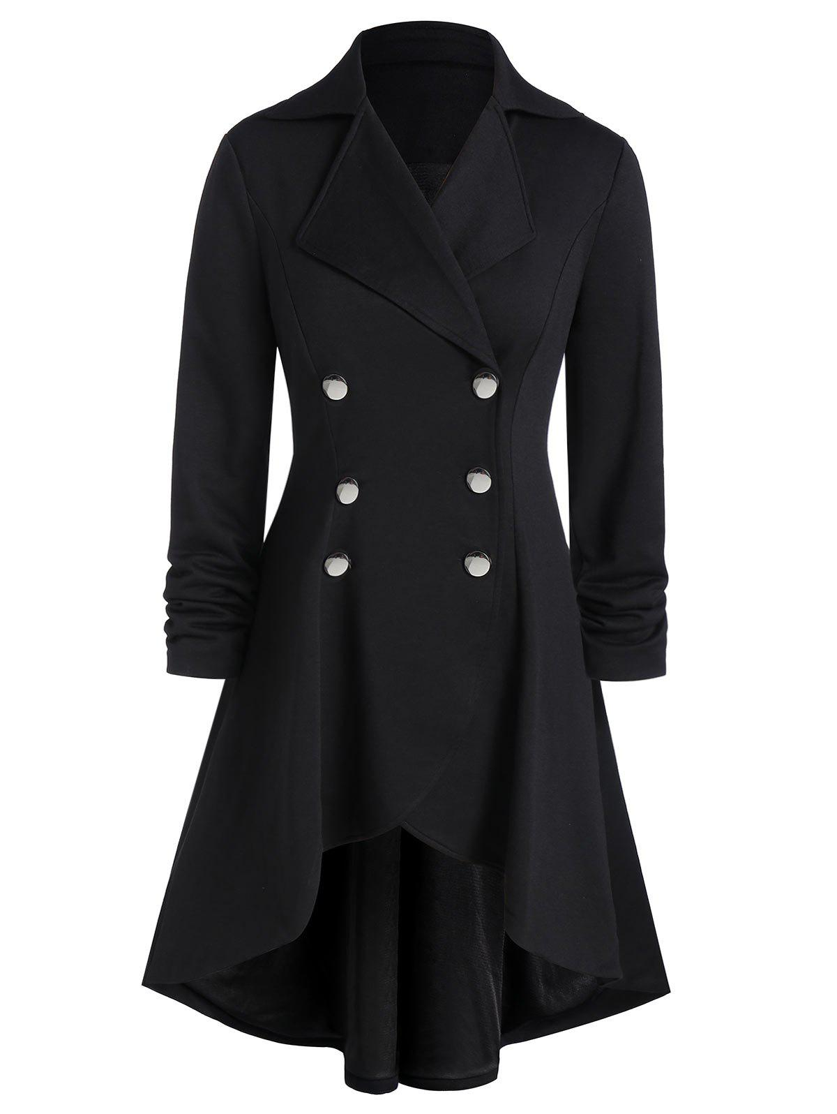 Unique Plus Size High Low Grommet Buckle A Line Coat
