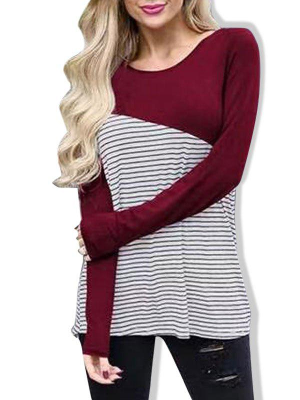 Best Casual Striped Panel Long Sleeve T-shirt