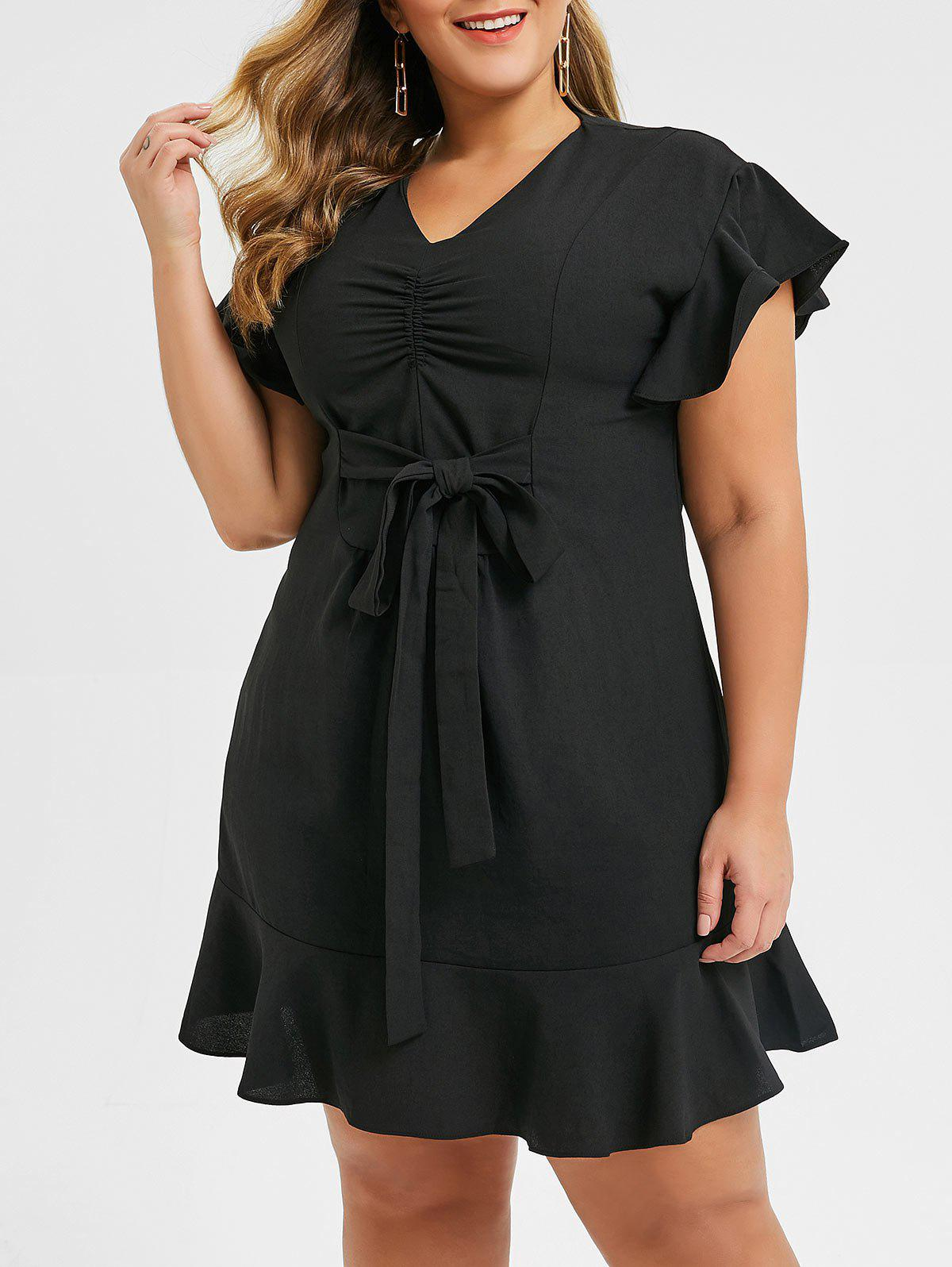 Trendy Plus Size Ruched V Neck Flounce Dress