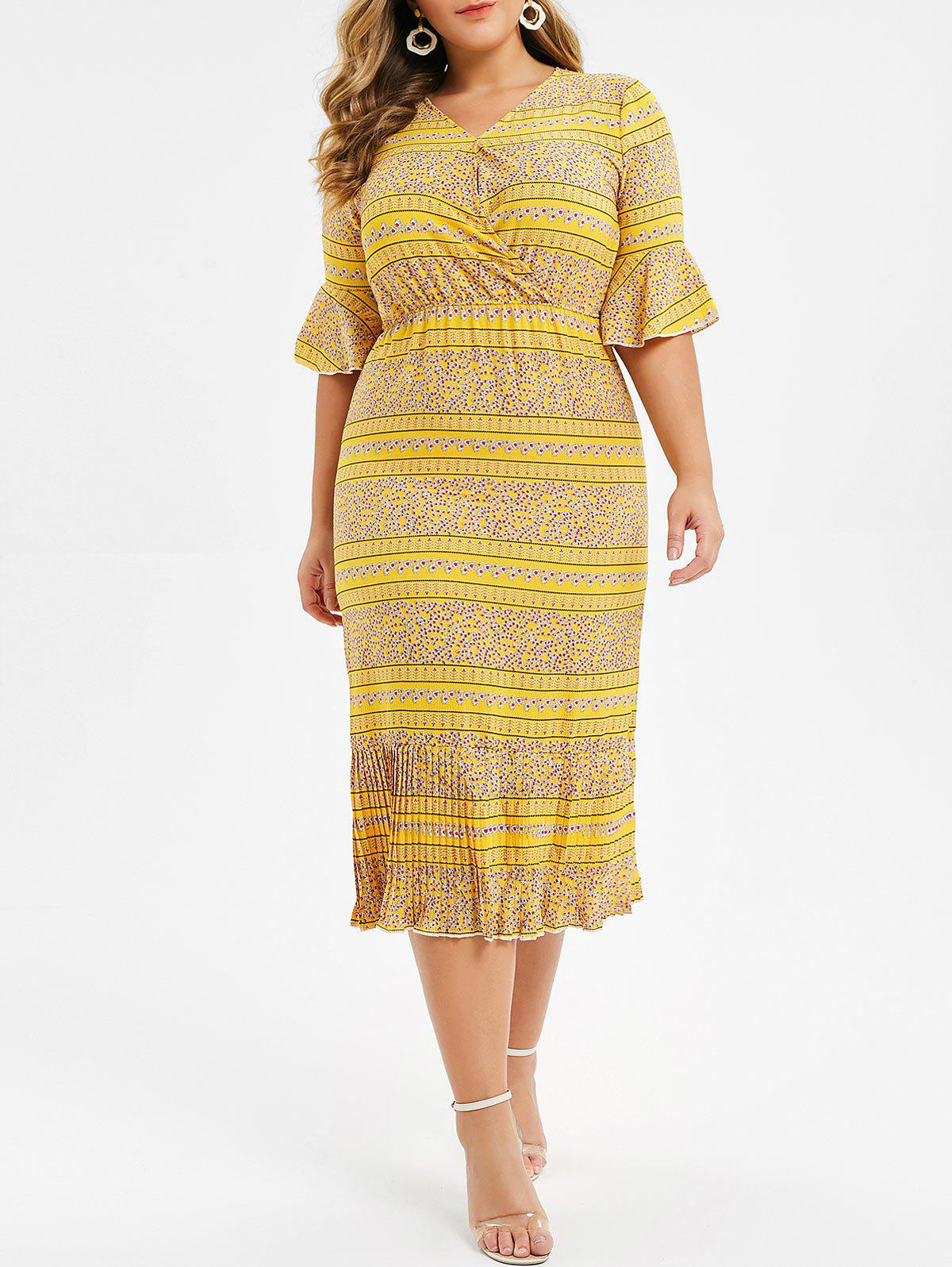 Sale Plus Size Bell Sleeve Flounce Ditsy Print Midi Dress