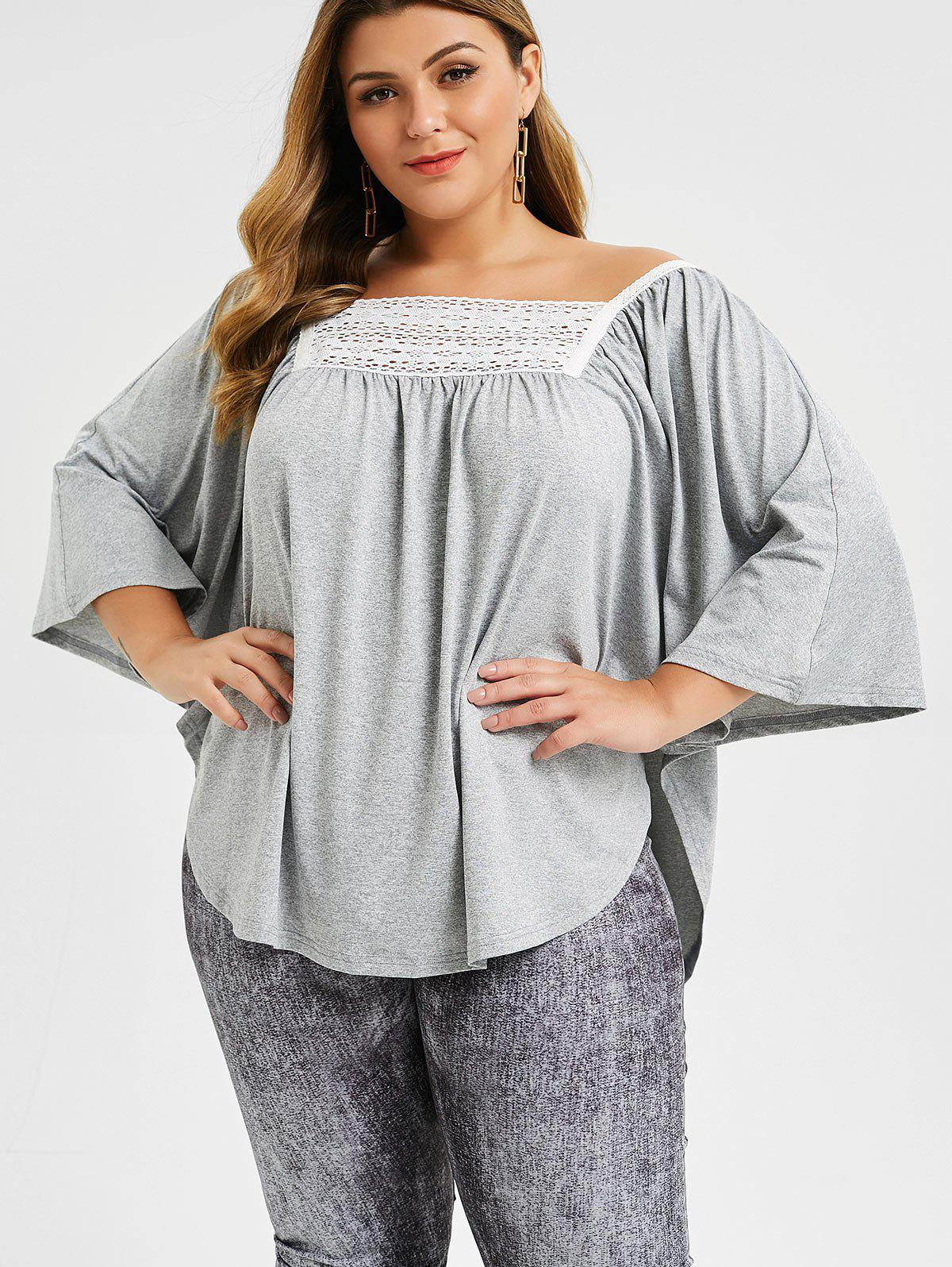 Outfit Plus Size Marled Lace Panel Dolman Top
