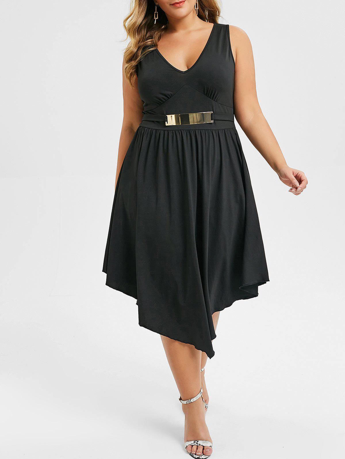Affordable Plus Size Plunging Neck Asymmetrical Sleeveless Dress