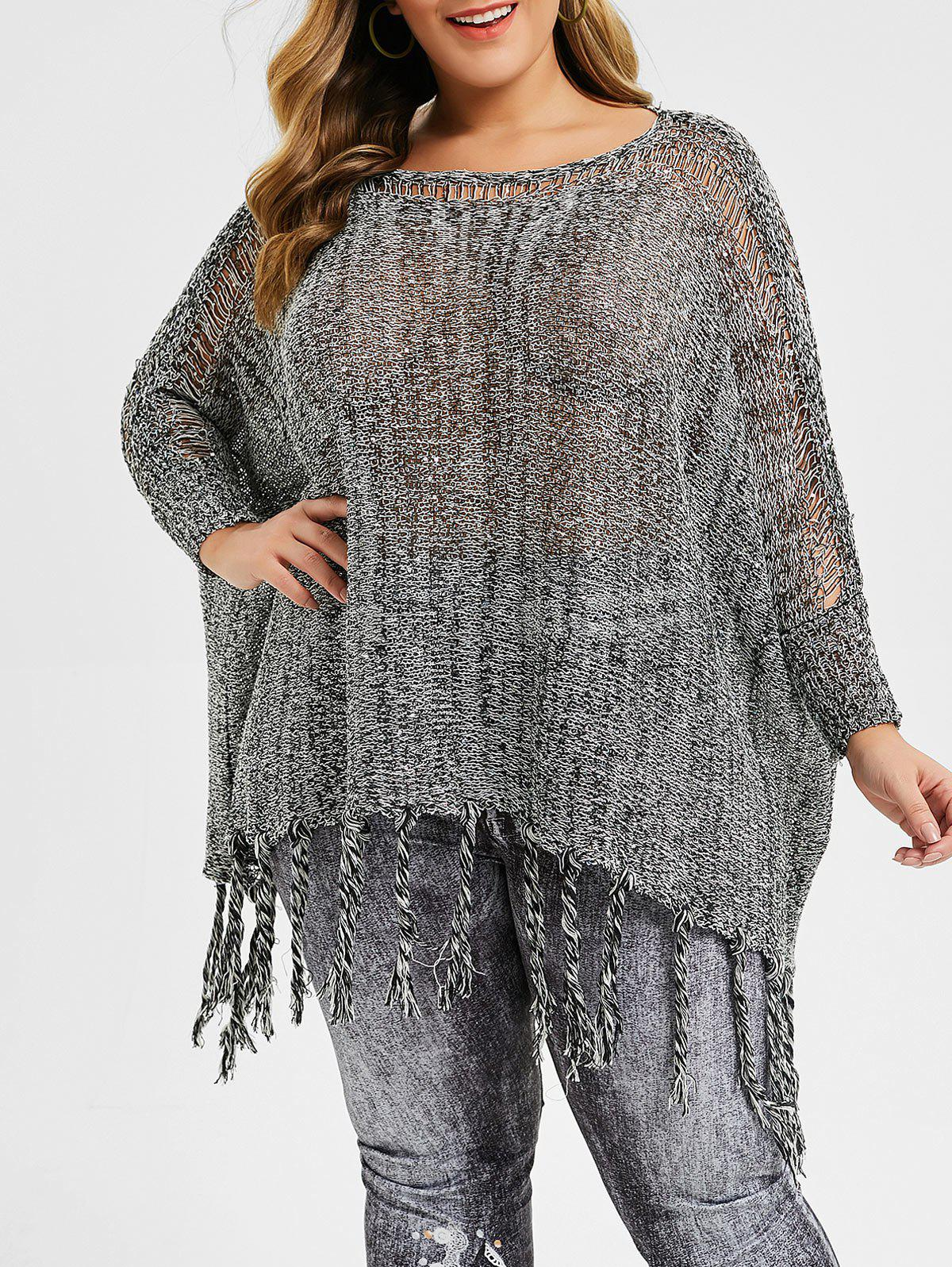 Best Plus Size Sequined Fringed Batwing Sleeve Sweater