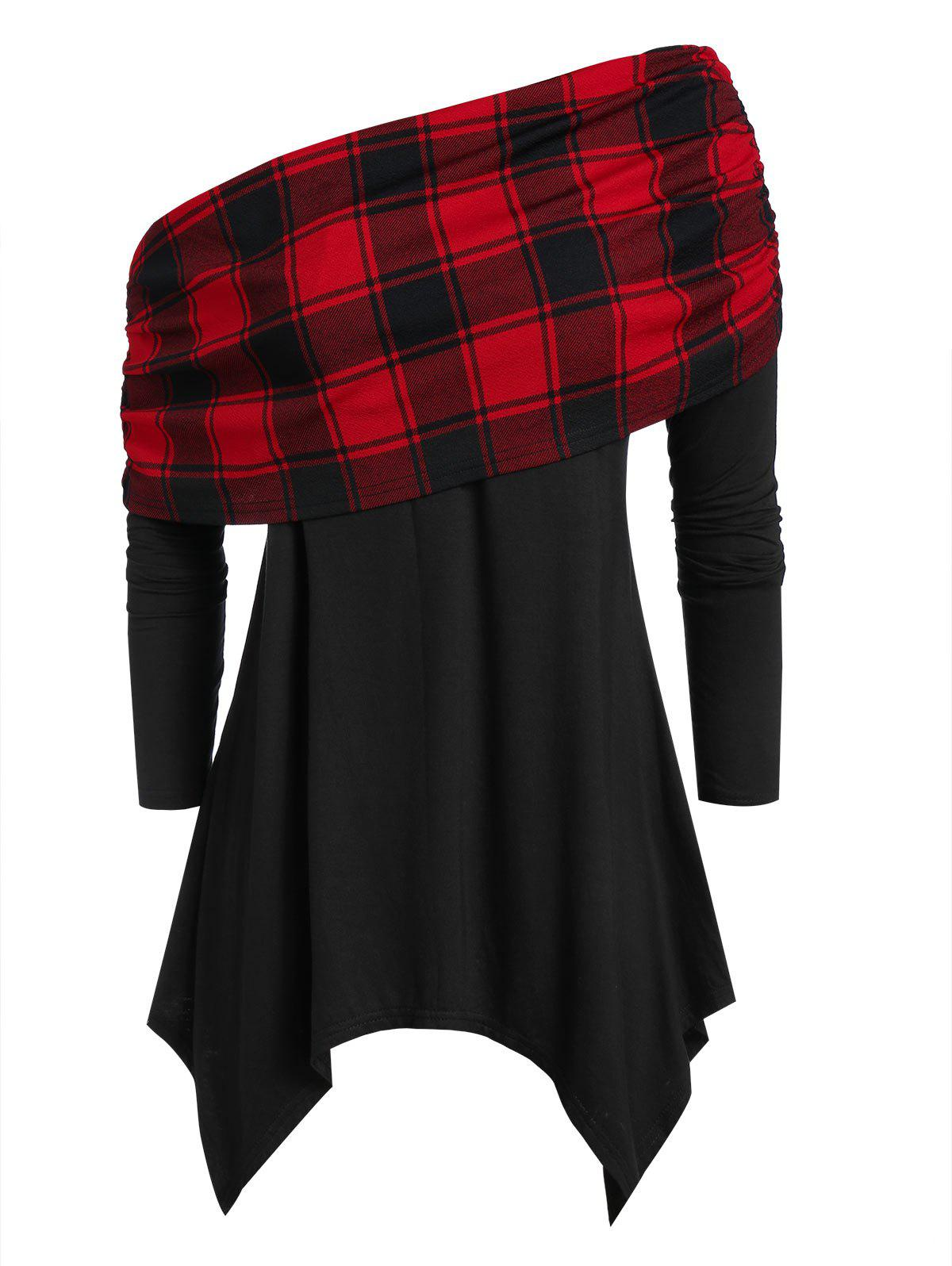 Hot Plus Size Checked Panel Asymmetrical Skew Neck T Shirt