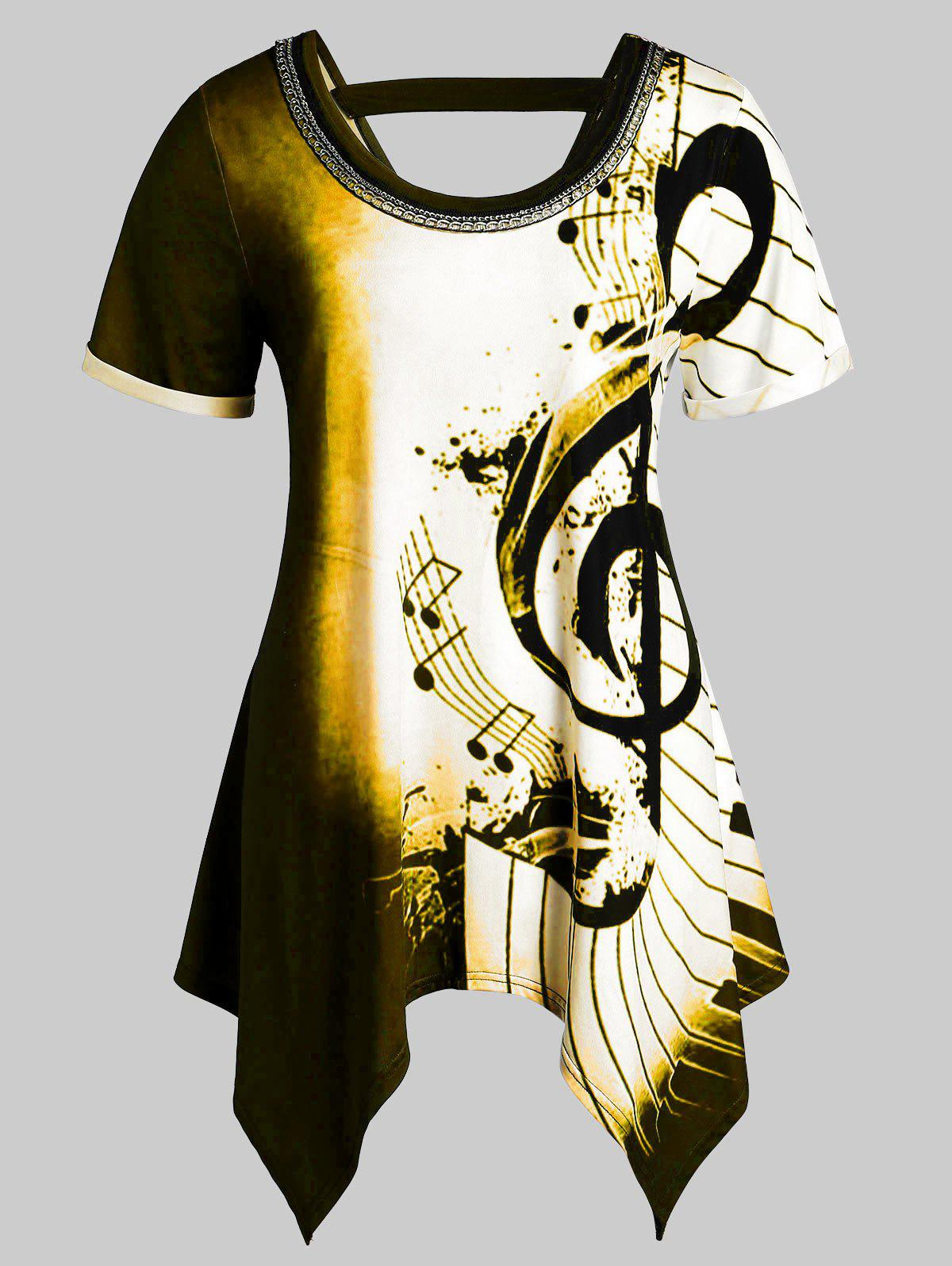 Plus Size Musical Notes Print Handkerchief Chains Embellished Tee фото