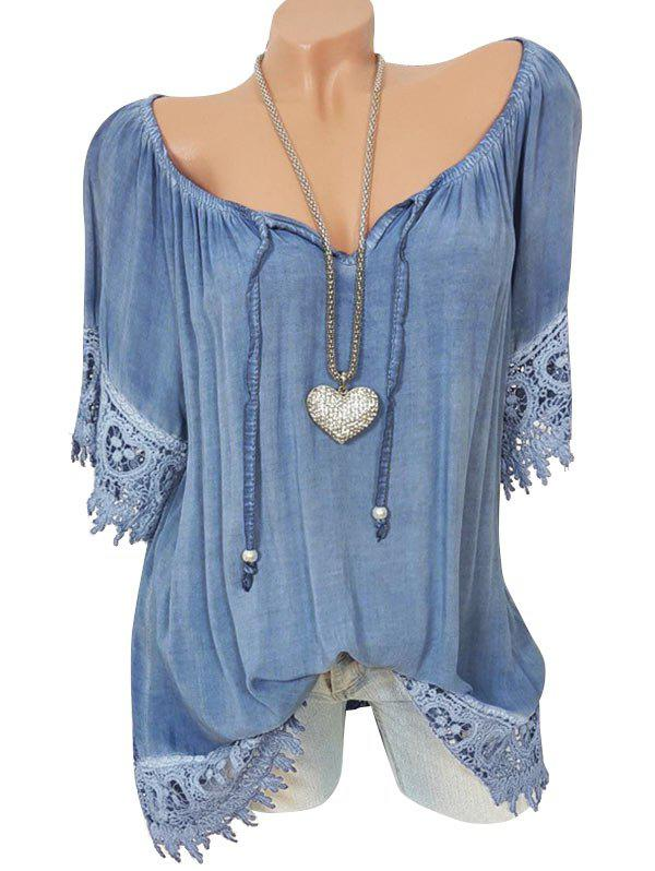 Shop Lace Panel Tie Raglan Sleeve Blouse