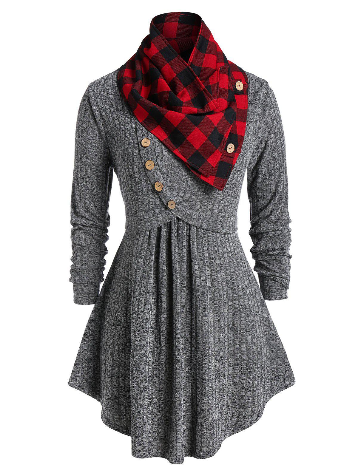 Shops Plus Size Cowl Neck Plaid Marled Knitwear