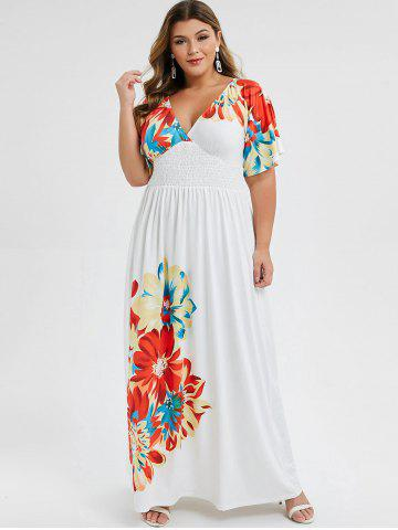 Plus Size Low Cut Smocked Floral Maxi Dress