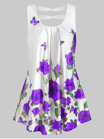 Rose Print Cut Out Pleated Tank Top