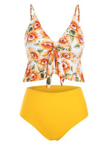 Sunflower Knotted Padded Tankini Swimsuit