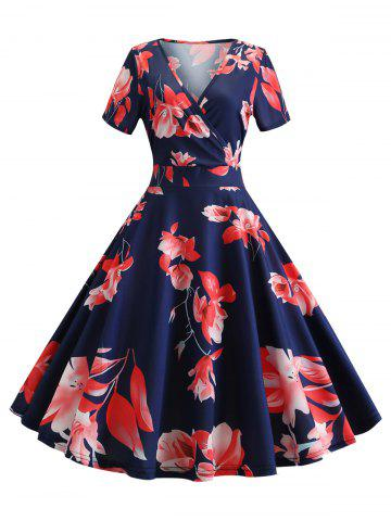Vintage Floral Surplice Fit and Flare Dress