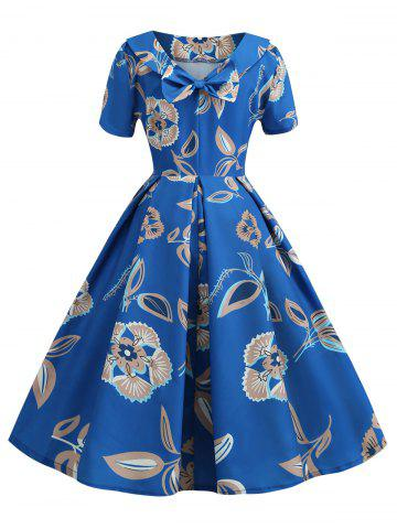 Floral Back Bowknot Vintage Dress