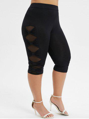Plus Size  Bowknot Mesh Panel Capri Leggings