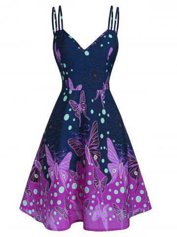 Spaghetti Strap Butterfly Print Fit And Flare Dress