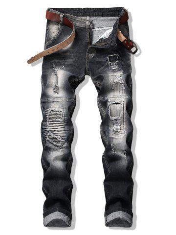 Broken Hole Patch Slim Denim Pants