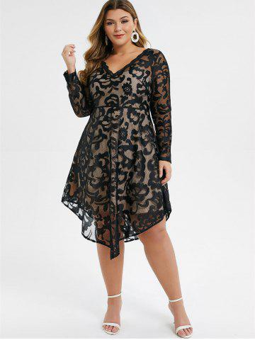 Plus Size Asymmetrical Sheer Overlay Flare Dress