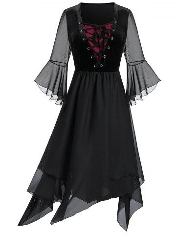 Plus Size Sheer Mesh Layered Lace Up Handkerchief Gothic Dress - BLACK - L