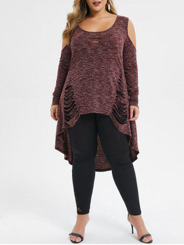 Plus Size Open Shoulder High Low Ripped Long Tunic T-shirt - RED WINE - L