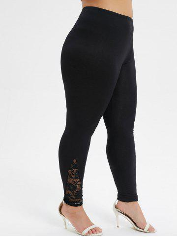 Plus Size Lace Panel Sheer High Waisted Leggings