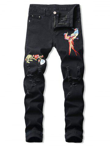 Floral Bird Embroidery Ripped Long Jeans - BLACK - 42
