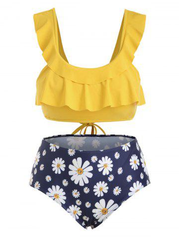 Plus Size Daisy Print Tie Back Ruffled Bikini Set